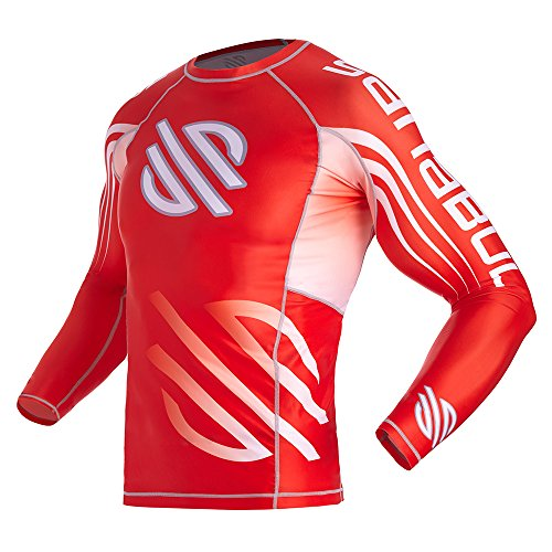 Series 1 Base Layer Compression MMA BJJ Crossfit Rash Guard with New FIT (Large, Red)