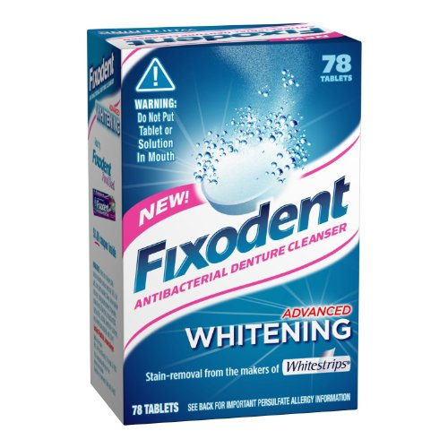 Fixodent Denture Cleanser Advanced Whitening Tablets, 78-count (Pack of 4)