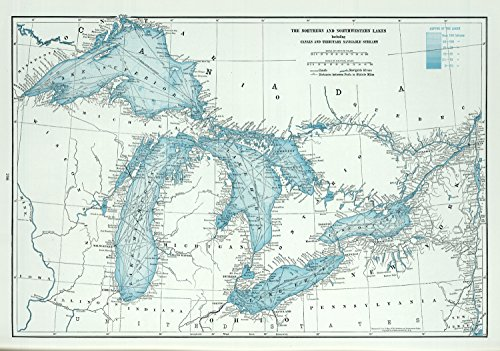 Map Poster - Great Lakes including Canals and Tributary Navigable Streams. - 24