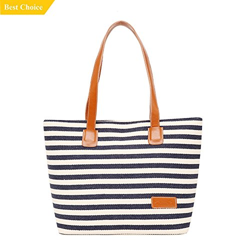 Canvas Tote, GS.Lee Women's Ladies Stripe Summer Beach Handbags Shoulder Zipper Purse Bag, Black (Stripe Beach Bag)