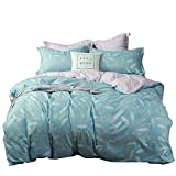 Uozzi Bedding 3pc Queen Duvet Cover Set, Reversible Blue Gray Leaf Deal (Small Image)