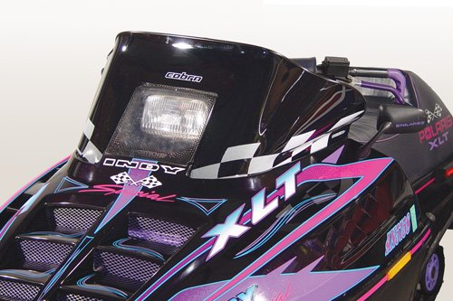 (PowerMadd 11120 Cobra Windshield for Polaris Indy - Black with white checkers - Low)