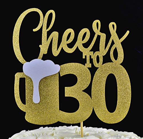 Cheers to 30 Gold Glitter Paper Cake Topper with Beer Mug Accent for Birthday or Anniversary