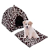 Foerteng Dog Cat Bed with Removable Cushion Cosy Fleece Pet House Mat Pet Supplies for Small Cat Dog M/L (Leopard, L) Review