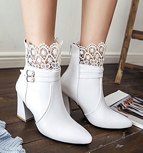 Lace Boots With Heel Toe Buckle Women's Mesh Chunky Aisun Sexy White Pointy EBxOZqz8w