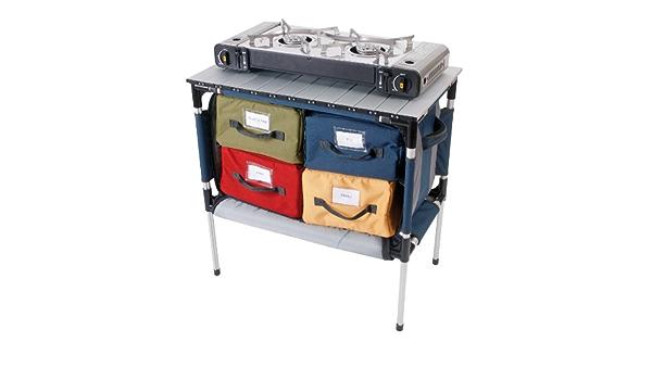 Kampa - Mesa plegable de cocina para camping (4 cajones de ...