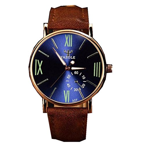 YANG-YI Luxury Fashion Leather Glass Quartz Analog Noctilucent Wrist Watches Men - Glasses 2017 Fashion