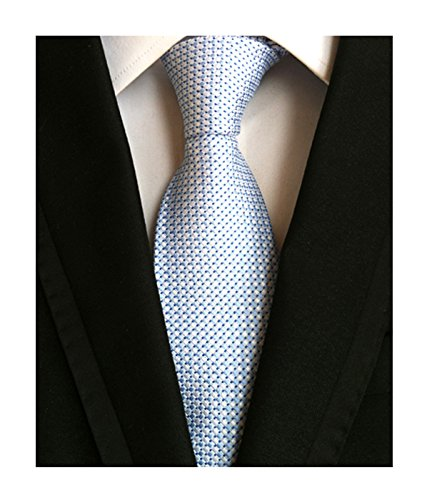 Light Blue White Silk Tie Mini Check Design Necktie Valentines Gifts for Men Guy