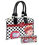 I Love Lucy Polka Dots Purse Wallet Set, Medium Size (White)