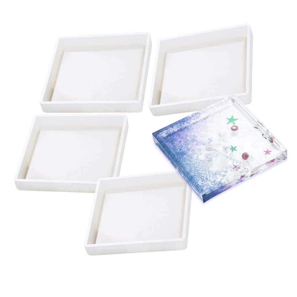 Home Decoration KeyZone Square Epoxy Casting Molds for Resin 4 Pack DIY Silicone Coaster Molds Concrete Cement