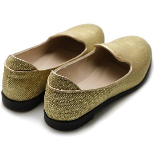 Ballet Smoking Glitter Ollio Women's Flat Gold Shoe pcqfE7fI
