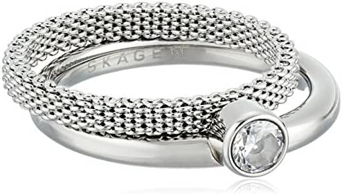 Skagen Elin Silver-Tone Crystal Ring