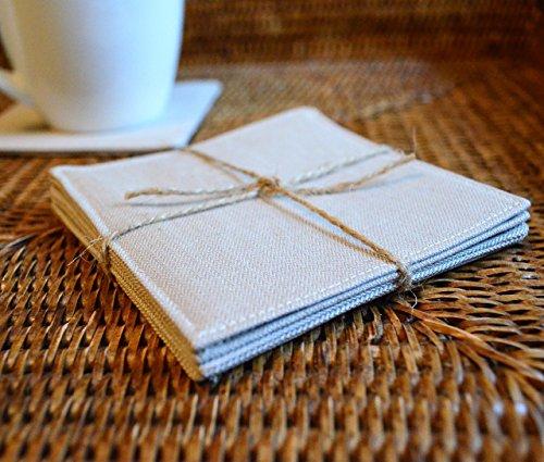 Set of 4 Tan Herringbone Fabric Coasters