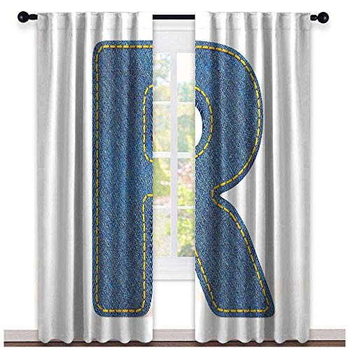 hengshu Letter R, Curtains Dining Room, Retro Denim Style Alphabet Font Pattern with Capital R Letter Blue Jean Design, Curtains for Living Room, W108 x L108 Inch Blue Yellow (Blue Jean Teddy Curtain)