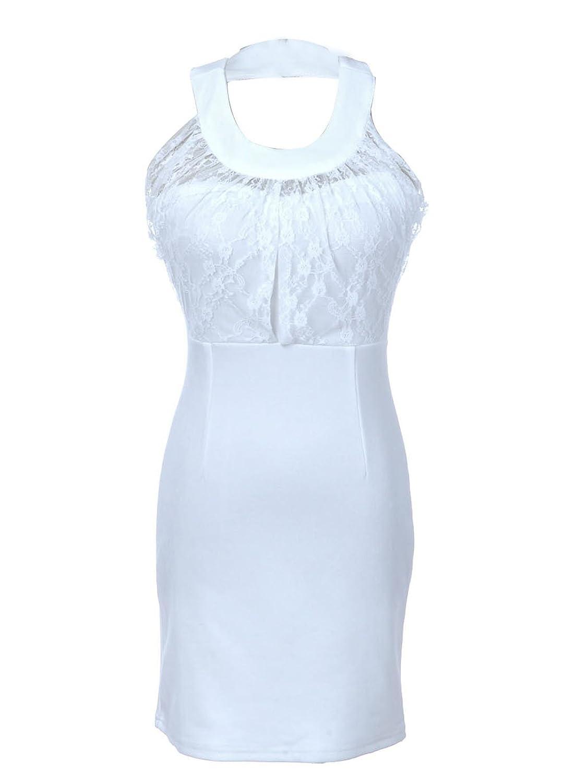 Anna-Kaci S/M Fit White Pristine Classical Greek-Like Ultra Short Mini Dress