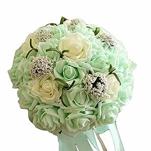 PANDA SUPERSTORE Wedding Bridal Bouquet Wedding Artificial Bouquet Artificial Rose, Light Green 99