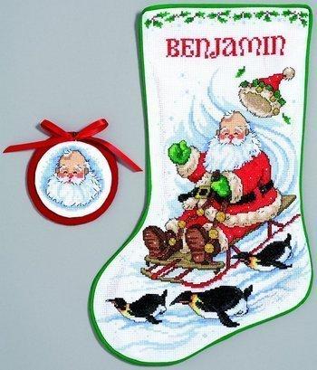 Sledding Santa Stocking - JCA Counted Cross Stitch kit Stocking - Sledding Santa