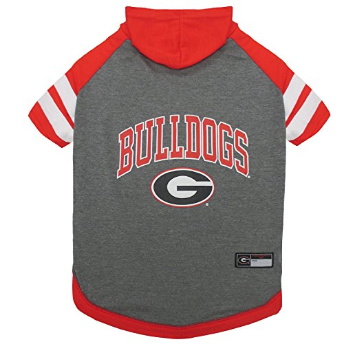 NCAA Georgia Bulldogs Hoodie for Dogs & Cats, Medium. | Collegiate Licensed Dog Hoody Tee Shirt | Sports Hoody T-Shirt for Pets | College Sporty Dog Hoodie Shirt.