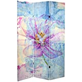 Oriental Furniture Tall Double Sided Love Blossom Canvas Room Divider, 6'
