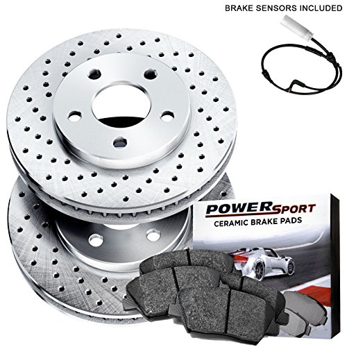 Front PowerSport Drilled Brake Rotors and Ceramic Pads 1997-2004 Porsche ()