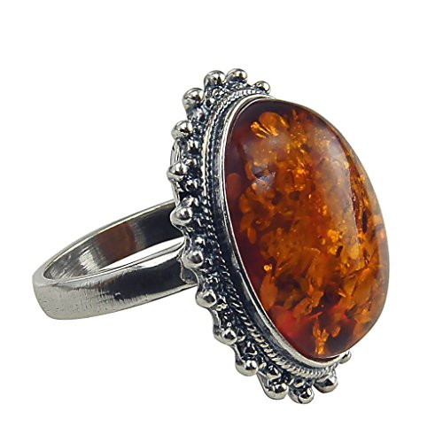 Shape Large Oval Ring (HolidayGiftShops Sterling Silver and Baltic Honey Amber Classic Oval Ring size: 8.5)