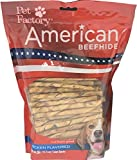 Pet Factory American Beefhide Chews 28159 Rawhide CHICKEN Flavor 5'' Twist Sticks for Dogs. American Beefhide is a Great Source for Protein and Assists in Dental Health. 100 Pack, Resealable Package