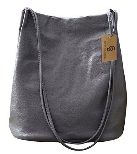 Bucket Bag Womens Leather Handbags Purse Tote Hobo Shoulder Bags,Grey