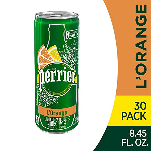 Perrier L'Orange Flavored Sparkling Mineral Water (Lemon Orange Flavor), 8.45 fl oz. Slim Cans (Pack of 30)