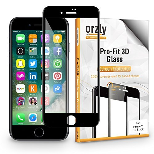 Orzly iPhone 7 Screen Protector, 3D Pro-Fit Tempered Glass Screen Protector [Full Screen Cover] for iPhone 7 - [3D Curved Edges for Seamless Fit] Black Rim Version