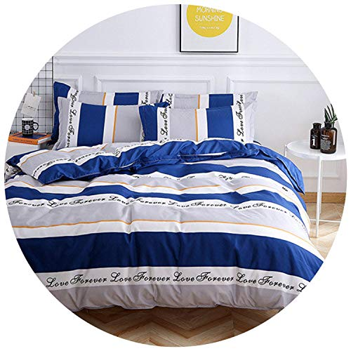 Flower Bedding Set Green Tree Bed linens Leafs Duvet Cover Set Flat Sheet +Duvet Cover & case Plant Bed Sets Home Bedding,Silver Blue Stripe,Queen,Flat Bed Sheet
