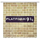 Scenery Shower Curtains for Bathroom Platform 9 3/4 Passage To Magic School Brick Wall Home Bath Decor Accessories 69 X 70 Inch Perfect Anti-Mildew Waterproof Polyester Fabric Curtains Includes Hooks