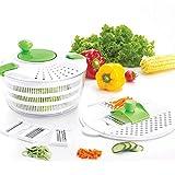 kilokelvin Plastic Kitchen Multifunctional Large Salad Spinner Salad Tosser Vegetable Salad Maker & Mandoline Slicer Set with 2 Lids- FDA Approved, 4.2 Quart Green-White-D650-A
