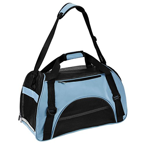 Pet Carrier Soft Sided Comfort Travel Breathable Large Tote Bag Hand Carrier Bag (Medium, Blue)