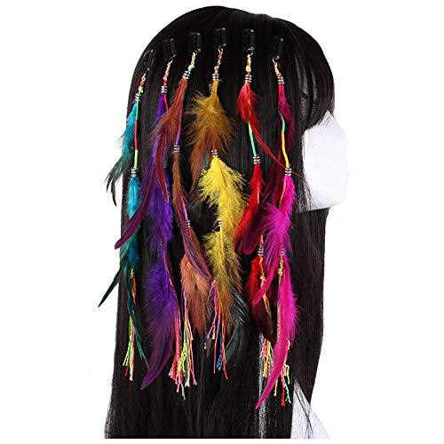 Feather Headband Hippie Indian Boho Hair Hoop Tassel Bohemian Headdress Headwear Headpiece Women Girls Kids Crown Hairband Hair Bands Party Decoration Cosplay Costume Handmade Hair Accessories 6 Pack