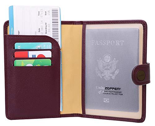 Zoppen Rfid Blocking Travel Passport Holder Cover Slim Id Card Case (#15 Wine)