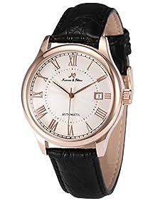 KS KS243 Men's Automatic Mechanical Watch Analog Date Display Black Leather Band