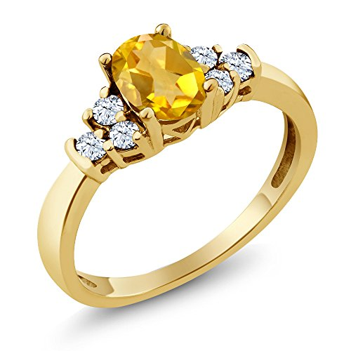 Gem Stone King 0.64 Ct Oval Yellow Citrine White Topaz 925 Yellow Gold Plated Silver Ring (Size 6)