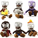 HUSOAR 28cm Plush Plants Vs Zombies Toys Doll a Set of 6 ---Ducky Tube Zombies,conehead Zombies,newspaper Zombies,grey Zombie,purple Zombie,dancing Zombie