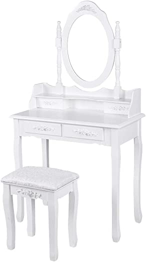 Simple Makeup Table,Vanity Table Set with Oval Mirror with 4 Drawers Dressing Table Cushioned Stool,Modern Bedroom Dressing Table Set White