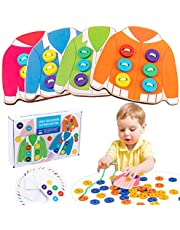 Fine Motor Skills Toys for Toddler, Wooden Clothes Lacing Toys Toddler Montessori Toy Threading Game Sewing Button Lacing Card Game Preschool Activities Early Development Educational Toy for Kids Age 2 3 4 5 Years