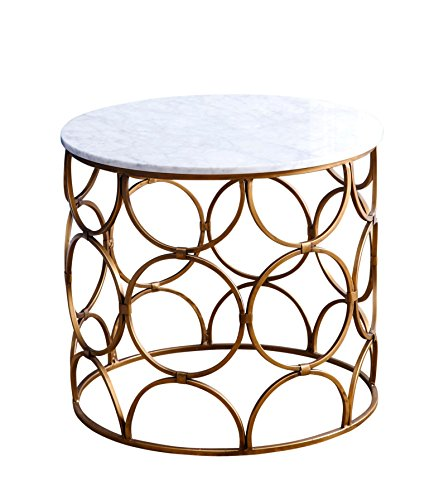 Abbyson Allison MD-P155626 Round Faux Marble Coffee Table (Wood Allison Round)