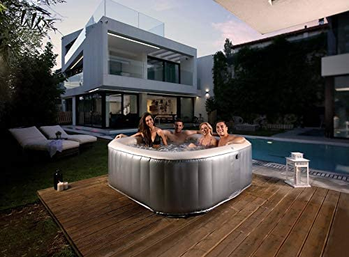 Silver 1.85x 1.85 x 0.68m MSPA Bliss Elite Jet Bubble Spa 6 Bathers Massage Outdoor Swimming Pool Inflatable Portable Hot Tub