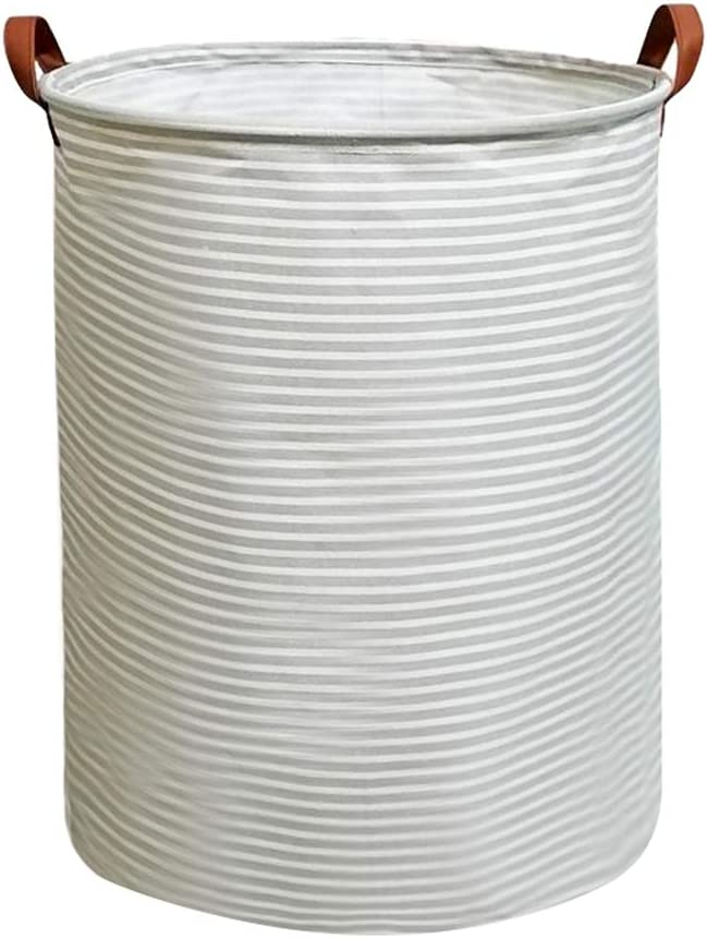 Tsingree Collapsible Laundry Hamper, Round Cotton Linen Laundry Basket, Large Storage Bin for Nursery Hamper and Kids Room (Striped)