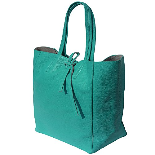 Genuine In Tote Shopping Bag Leather 9121 Turquoise qz8ZtwO8