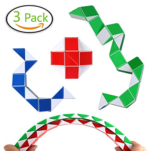 Speed Cube Snake Ruler Twisty Fidget Cube Puzzle Pack Stickerless Magic Snake Game Toys Collection Brain Teaser Christmas Gift for Kids (24 parts white) (Snake Rubiks)