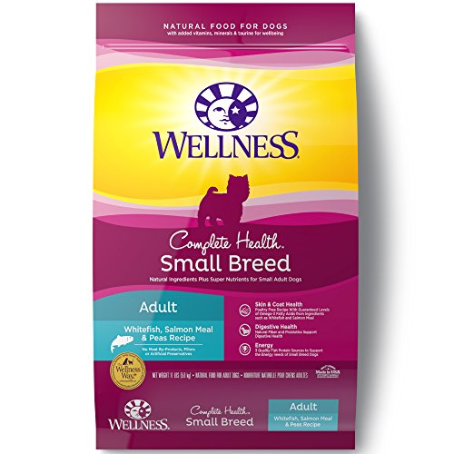 Wellness Complete Health Natural Dry Small Breed Dog Food, Whitefish, Salmon & Peas, 11-Pound (Wellness Adult Salmon)
