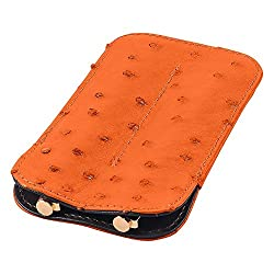 Leather Double Pen Sleeve, Ostrich Leather, Orange, Fits 2 Pens
