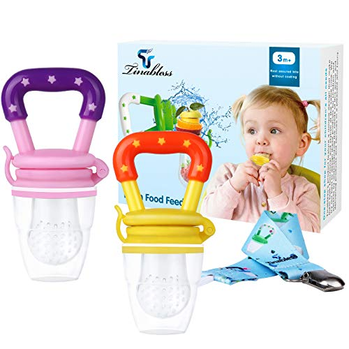12 Month Fruit - Baby Food Feeder - Tinabless Baby Fresh Fruit Feeder Teething Toys with Pacifier Clip Strap for Infant, Kids, Toddlers - M (2Pcs)