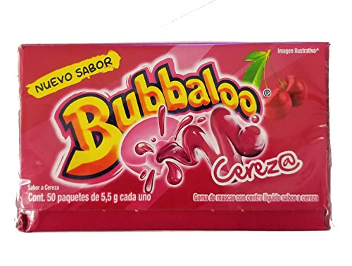 Adams Bubbaloo Cherry Mexican Gum. Delicious Cherry flavor liquid filled. 1 Pack (50pcs). ()