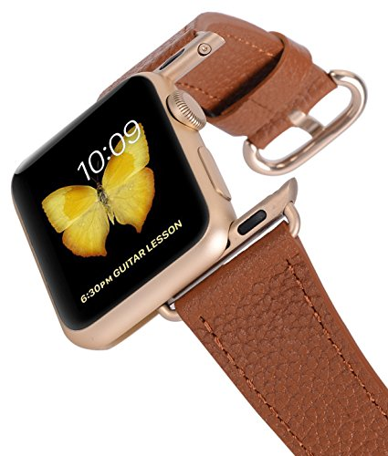 Apple Watch Band 38mm Women - PEAK ZHANG Light Brown Genuine Leather Replacement Wrist Strap with Gold Adapter and Buckle for Apple Watch Series 2/1/Edition/Sport by PEAK ZHANG (Image #6)